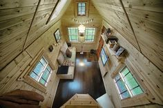 The Tiny Tack House is capable of operating completely off-grid, but can also be plugged into the grid. Living small requires a highly strategic use of space, and creative storage is paramount. Other than the bed loft, the open floor-to-ceiling creates the impression  of space.