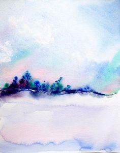 Aquarelle de paysage abstrait peinture hiver paysage par coloribli