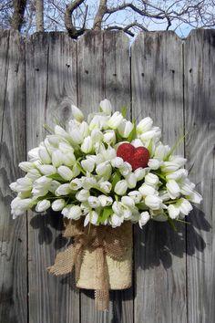 Valentine Wreath, Wreath Alternative White Tulip by forevermore Valentine Day Wreaths, Valentines Day Decorations, Valentine Day Crafts, Valentine Bouquet, My Funny Valentine, Love Valentines, Wreath Crafts, How To Make Wreaths, Floral Arrangements