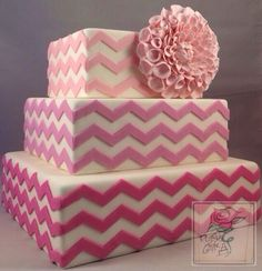 Pink  sugar Dahlia  ombré chevron wedding cake ~ all edible