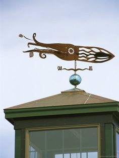 a squidshaped weather vane atop a cupola - Weather Vanes