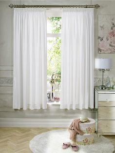 Thermal curtains - short length (137cm) so as not to cover the radiator. Each curtain 168cm wide. Plain white. £25, bargain! // Simply Thermal Lined Pencil Pleat Curtains | very.co.uk