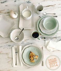@Senya Speaks French Perle White Dinnerware in WTC 1-190. #dallasmarket # & Lenox French Perle Dinnerware in White and Ice Blue resting atop a ...