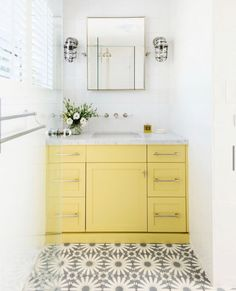 "@kwdandco: ""This throwback image of the completed KWD bathroom renovation highlights Kate's love of colour.…"" Room Tiles, Bathroom Rugs, Wall Tiles, Bathroom Ideas, Powder Room Decor, Powder Rooms, Yellow Paint Colors, Peach Bathroom, Yellow Cabinets"