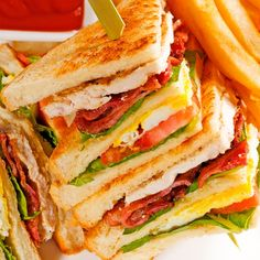 This club sandwich recipe is pretty hearty and makes a good lunch choice for someone with a good appetite.  . Club Sandwich Recipe from Grandmothers Kitchen.