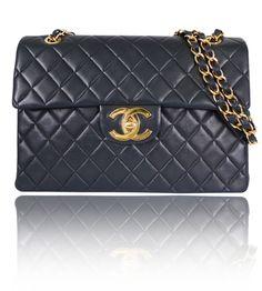 Chanel Black Lamb Skin Jumbo Classic Flap Bag Vintage - Garo Luxury - Authentic Luxury Goods