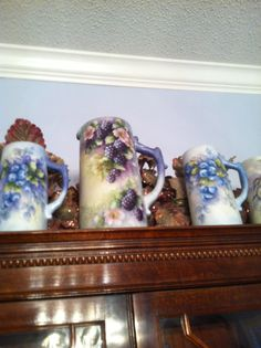 artist Anita Hayes Lubbock, TX  Steins and Large Pitcher