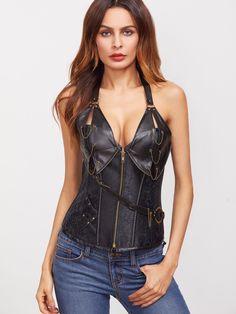 Shop Black Chain Detail PU Halter Corset With Briefs online. SheIn offers Black Chain Detail PU Halter Corset With Briefs & more to fit your fashionable needs.