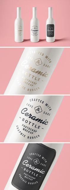 Ceramic Bottles PSD MockUp | GraphicBurger