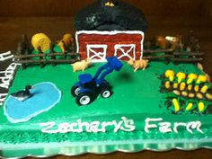 My son's 4th birthday Farm cake I made.