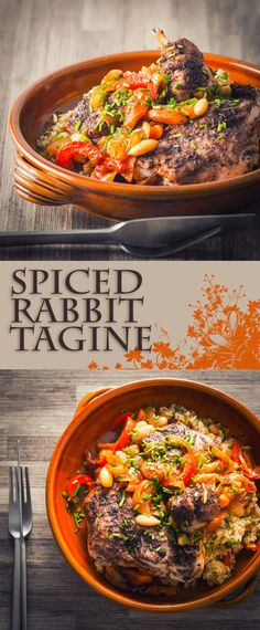 African style 300052393908471870 - Spiced Rabbit Tagine: Rabbit is a beautifully lean and sustainable meat and this North African style spiced rabbit tagine is simple quick and wonderfully exotic. Source by wineladyjo Rabbit Dishes, Rabbit Stew, Rabbit Food, Meat Recipes, Cooking Recipes, Rabbit Recipes, Game Recipes, Tagine Cooking, Tagine Recipes