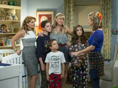 DJ Tanner-Fuller (Candace Cameron-Bure), Jackson Fuller (Michael Campion), Max Fuller (Elias Harger), Stephanie Tanner (Jodie Sweetin) Ramona Gibbler (Soni Nicole Bringas), and Kimmy Gibbler (Andrea Barber) - 'Fuller House'.