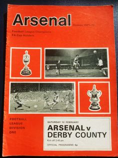 Arsenal v Derby County Football Programme 12/02/1972 Listing in the First Division Fixtures,1970-1979,League Fixtures,English Leagues,Football (Soccer),Sports Programmes,Sport Memorabilia & Cards Category on eBid United Kingdom