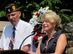 Weschester Council Member Judy Meyers addresses the crowd at the Memorial Day Service