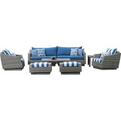 8-Piece Cannes Sunbrella Seating Group in Regatta Blue  at Joss and Main