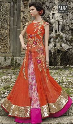 Awesome Net Orange Designer And Party Gown This orange net designer gown is adding the beautiful glamorous displaying the sense of cute and graceful. You could see some intriguing patterns carried out with embroidered and resham work. Designs, colors and patterns on the actual product may slightly vary from designs shown in the image. Images are only