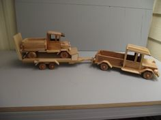 Wooden Truck And Low Boy Trailer With Tool Box. Made From Several Types Of Wood…