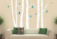 Family Room paint Ideas with birch tree mural | How to Paint a Tree on a Wall With Green Pillow