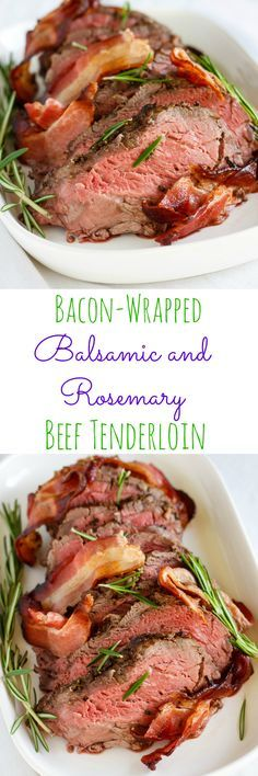 Best Easter Dinner Recipes - Bacon-Wrapped Balsamic and Rosemary Beef Tenderloin - Easy Recipe Ideas for Easter Dinners and Holiday Meals for Families - Side Dishes, Slow Cooker Recipe Tutorials, Main Courses, Traditional Meat, Vegetable and Dessert Ideas Easter Dinner Recipes, Holiday Recipes, Holiday Meals, Easter Brunch, Christmas Dinners, Easy Beef Tenderloin Recipe, Meat Recipes, Cooking Recipes, Game Recipes