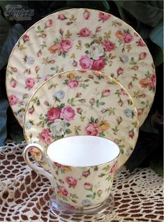 Antique Staffordshire China | Heirloom Antique Rose Chintz Bone China Cup, Saucer & Plate Trio