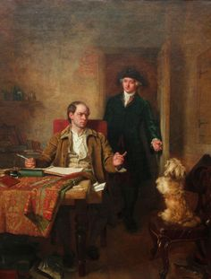 "John Faed, ""Sir Joshua Reynolds Visiting Goldsmith in his Study"". That's my baby! (Saved solely because that dog looks like my baby. Wakefield, Plymouth, Gatehouse Of Fleet, Richard Taylor, Joshua Reynolds, Nostalgic Pictures, Victorian Portraits, Edinburgh City, Colors"