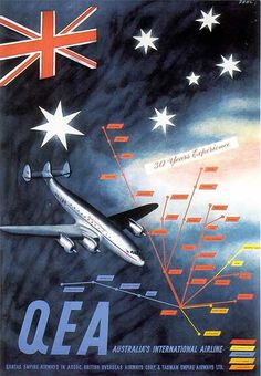 """This poster, by 'Dahl', illustrates the QEA route network operated in association with BOAC and TEAL, and carries the slogan """"30 Years Experience"""". This, and the colour scheme of the Connie (which was changed in 1952), suggests this poster dates from 1951"""