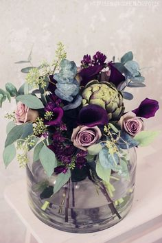 Beautiful purple and dusty rose bridal bouquet with an ornamental artichoke! Unu… Beautiful purple and dusty rose bridal bouquet with an ornamental artichoke! Unusual and elegant while still being unexpected and unique. Faux Flowers, Fresh Flowers, Beautiful Flowers, Diy Flowers, Purple Flowers, Deco Floral, Arte Floral, Plantas Indoor, Rose Bridal Bouquet