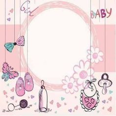 Imprimibles Baby Shower, Baby Shower Invitaciones, Christening Invitations Girl, Girl Christening, Distintivos Baby Shower, Baby Shower Parties, Scrapbook Bebe, Baby Frame, Baby Album