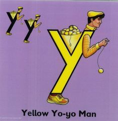 Letter land to the rescue with yellow Yo-yo man. Alphabet Worksheets, Preschool Worksheets, Teaching The Alphabet, Teaching Kids, Letterland Costumes, The Letter Y, Made Up Words, Phonics Lessons, It's Going Down