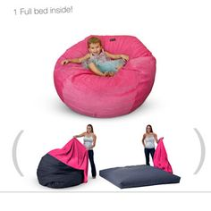 Bean Bag Chair Beds...they go from bean bag to fold out mattress just by taking the cover off!