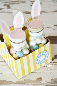 Easter bunny treat jars (Starbucks frappucino bottles + carrier)