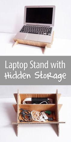 Made completely out of cardboard, with a useful organizer that is hidden by the laptop (perfect for storing all those cables and stuff you need while on the computer).