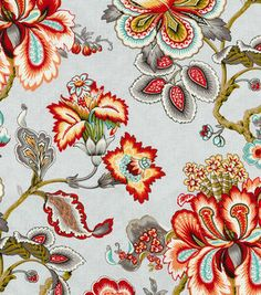 HGTV Home Upholstery Fabric-Bespoke Blossoms Mineral--side chairs/ kitchen shades Trendy Home Decor, Elegant Home Decor, Elegant Homes, Home Decor Styles, Floral Throws, 3d Home, Home Decor Fabric, Textiles, Fabric Wallpaper