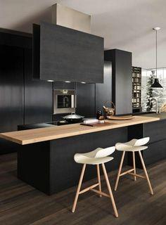 repeindre une cuisine en bois, repeindre meuble de cuisine gris noir #cocinasmodernasgrises