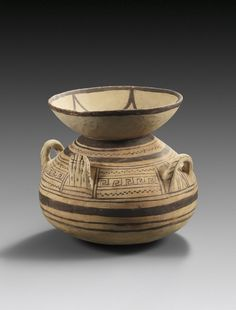 Daunian ollae with painted decor and ornamental handles in form of hands, 6th-4th century B.C. 29.6 cm high. Private collection