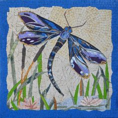 Looking for the perfect finishing touch to your tropical decor? Let this enchanting Dragonfly mosaic artwork brighten your walls along with your spirits! This artwork is available in standard and custom sizes. Mosaic Garden Art, Mosaic Tile Art, Mosaic Artwork, Mosaic Mirrors, Mosaic Windows, Dragonfly Painting, Dragonfly Art, Mosaic Art Projects, Mosaic Crafts