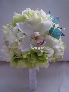 MADAME BUTTERFLY Wedding Bouquet With Sparkle by Ardesign on Etsy, $125.00