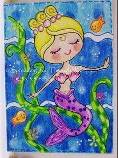 ACEO Original Art Joy Summer Goldfish Pretty Blonde Mermaid Ocean Flower Dance #Miniature