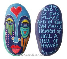 These rocks are painted on both sides and protected with a satin varnish. You can see both sides in the picture. When there's only one picture, there's only a quote and no image. The sizes vary from...
