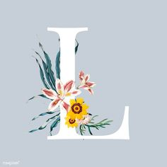Flower Typography, Cover Wattpad, L Wallpaper, Floral Font, Free Hand Drawing, Flower Letters, Alphabet Design, White Letters, Free Illustrations