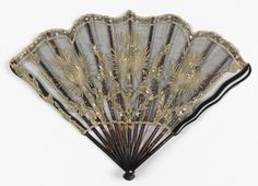 Folding Fan - Leaf Of Silk Net With Applied Lace And Steel Spangles, Sticks And Slips Of Tortoiseshell Embedded With Steel Spangles - France  c.1901  -  Smithsonian, Cooper-Hewitt, National Design Museum