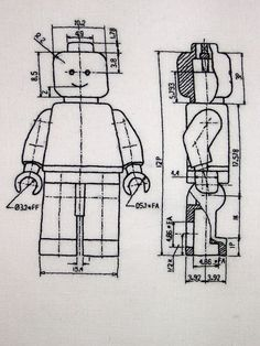 Embroidered Lego plans
