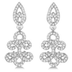 Allurez Fleur De Lis Diamond Drop Earrings Pave Set 14k White Gold... ($1,565) ❤ liked on Polyvore featuring jewelry, earrings, accessories, brincos, white, drop earrings, white gold jewellery, white gold diamond earrings, diamond earrings and clear crystal drop earrings