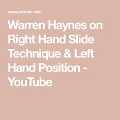 Warren Haynes on Right Hand Slide Technique & Left Hand Position Guitar Strings, Guitar Pedals, Gov't Mule, Warren Haynes, Slide Guitar, Guitar Kits, Guitar Lessons, You Youtube, Left Handed