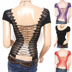 Sexiest Corset Lace Up Cross Strap Embroidered Backless Top