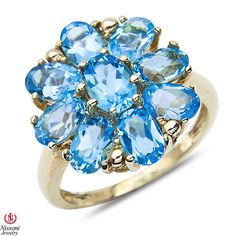 Blue Topaz Flower Ring 10k Yellow Gold - Jewelry Deals 80% OFF + $25 OFF extra discount on purchases $500 & UP ! Enter PINPROMOT coupon at CHECKOUT to get $25 OFF when you place your order @ NissoniJwelry.com