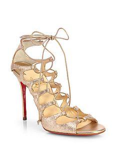 Christian Louboutin Aqueduchesse Glitter Lace-Up Sandals