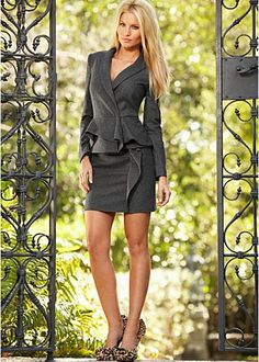 Cute matching outfit for professional work: ruffle details jacket with ruffle detail skirt