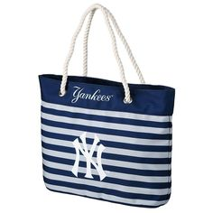 Forever Collectibles New York Yankees Striped Tote Bag, Adult Unisex, Multicolor