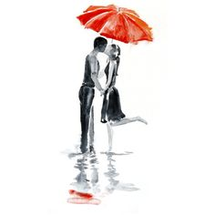 Love autumn rain umbrella kiss Original Watercolor Painting 13x19... ($95) found on Polyvore